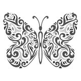 Abstracte Mehndi-vlinder - vectorillustratie Royalty-vrije Stock Afbeeldingen
