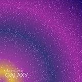 Abstracte melkwegachtergrond met melkachtige manier, stardust, nevel en heldere glanzende sterren Kosmische vectorillustratie Royalty-vrije Stock Afbeeldingen