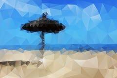 Abstracte mening van het overzeese strand met een paraplu Royalty-vrije Stock Fotografie