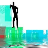 Abstracte mens naast water Stock Foto
