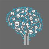 Abstracte menselijke hersenen en sociale media royalty-vrije illustratie