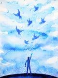 Abstracte menselijke het vliegen vogels geestelijke mening in blauwe wolkenhemel royalty-vrije illustratie