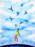 Abstracte menselijke het vliegen vogels geestelijke mening in blauwe wolkenhemel stock illustratie