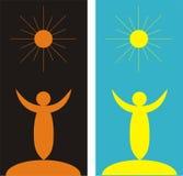 Abstracte mensen en zon Stock Afbeeldingen