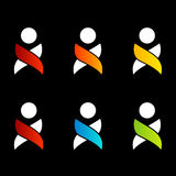 Abstracte mensen kleurrijke emblemen Royalty-vrije Stock Foto