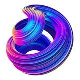Abstracte metaal holografische gekleurde 3D vloeistof verdraaide vorm stock illustratie