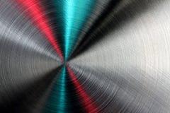 Abstracte metaaltextuur met blauwe en rode stralen. Stock Foto's