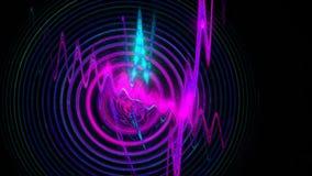 Abstracte metamorfose in de vorm van golven, radiogolven en spiralen in de zwarte ruimte E stock videobeelden