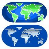Abstracte Minimalistische Wereldkaart in Twee Verschillende Versies Royalty-vrije Stock Fotografie