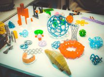 Abstracte modellen die door 3d printerclose-up worden gedrukt Royalty-vrije Stock Fotografie
