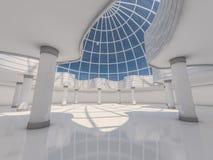 Abstracte moderne architectuurachtergrond het 3d teruggeven Royalty-vrije Stock Afbeelding