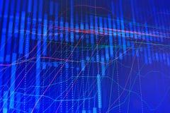 Abstracte moderne blauwe IT grafiek op het monitorscherm. Stock Foto