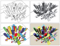 Abstracte moderne stad Stock Afbeeldingen