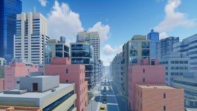 Abstracte moderne stad bij dagtijdtijdspanne stock videobeelden