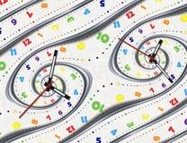 Abstracte Moderne witte fractal van de regenboog spiraalvormige klok wijzerswijzers De verdraaide surreal klokken letten op ongeb royalty-vrije illustratie