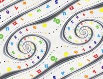 Abstracte Moderne witte fractal van de regenboog spiraalvormige klok wijzerswijzers De verdraaide surreal klokken letten op ongeb stock illustratie