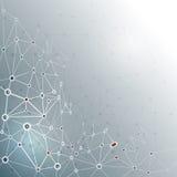 Abstracte molecule op grijze kleurenachtergrond netwerk voor futuristisch technologieconcept Royalty-vrije Stock Afbeeldingen