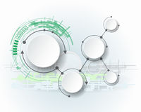 Abstracte molecules met 3d document cirkel en lege ruimte voor uw inhoud
