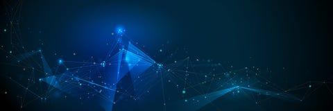 Abstracte Moleculesbanner met geometrische lijn, veelhoek De vectorachtergrond van het ontwerpnetwerk royalty-vrije illustratie