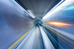Abstracte Motie Vaag van Metro Tunnel in het Schot van de Snelheidsbeweging, Defocus-Onduidelijk beeldachtergrond stock afbeelding