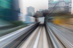Abstracte motie vage bewegende trein binnen tunnel Stock Foto
