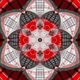 Abstracte mozaïekmandala Kleurrijk, kaart Tegel donkere mandala in zwart en rood vector illustratie