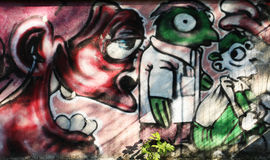 Abstracte muurgraffiti Stock Afbeelding