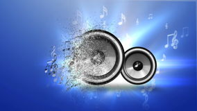 Abstracte muziek met sprekers op blauwe achtergrond