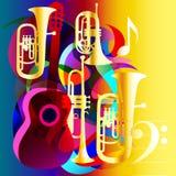 Abstracte muziekachtergrond met gitaar en blaasinstrumenten Royalty-vrije Stock Afbeelding