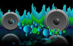 Abstracte muziekachtergrond met sprekers Royalty-vrije Stock Afbeelding