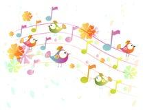 Abstracte muziekachtergrond met vogels royalty-vrije illustratie