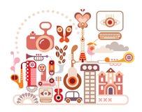 Abstracte muziekillustratie Stock Afbeeldingen