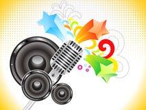 Abstracte muzikale achtergrond met mic Royalty-vrije Stock Afbeeldingen