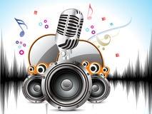 Abstracte muzikale achtergrond met mic & geluid Royalty-vrije Stock Foto