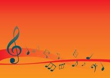 Abstracte muzikale achtergrond met muzieknota's Stock Afbeelding