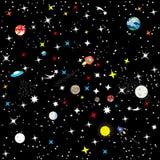 Abstracte naadloze achtergrond de constellatie van de Melkweg op een zwarte achtergrond De sterrige hemel van het heelal Ruimtesc vector illustratie