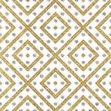 Abstracte naadloze achtergrond van gouden en zilveren strepenpunten Royalty-vrije Stock Afbeelding