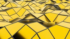 Abstracte naadloze gouden driehoekige kristallijne animatie als achtergrond Stock Foto
