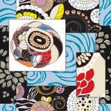 Abstracte naadloze patcworktegel met bloemenornament Arabisch of o royalty-vrije illustratie