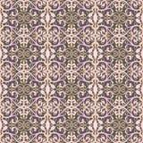 Abstracte naadloze patroonillustratie van kanten bladeren, bloemen en wervelingen in geometrische lay-out stock illustratie