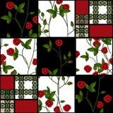 Abstracte naadloze textiel retro bloemen van de lapwerk geruite plaid royalty-vrije illustratie