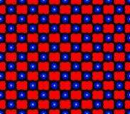 Abstracte naadloze zwarte achtergrond met rode bloemen en blauwe vierkanten vector illustratie