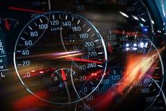Abstracte nacht het rennen illustratie met vage lichten Royalty-vrije Stock Foto's