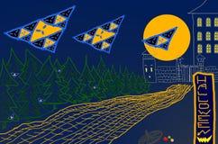 Abstracte nachtspoken de achtergrond van Halloween boven weg tegen maan en kasteel stock illustratie