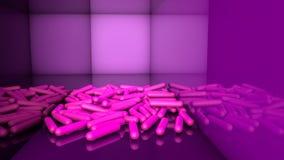 Abstracte neonachtergrond Roze capsules op een purpere achtergrond llustration 3d geef terug royalty-vrije stock foto's