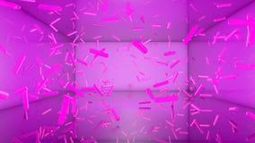 Abstracte neonachtergrond Roze capsules op een purpere achtergrond llustration 3d geef terug royalty-vrije illustratie