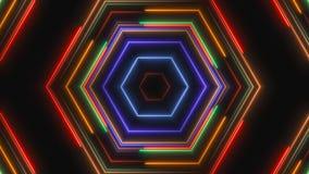 Abstracte neonlijnen in het ruimte, 3d teruggeven Royalty-vrije Stock Foto