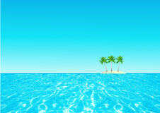 Abstracte oceaan als achtergrond, de blauwe hemel van het palmeneind Royalty-vrije Stock Afbeelding