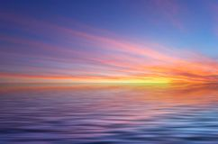 Abstracte oceaan en zonsondergangrug Stock Fotografie
