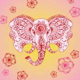 Abstracte olifant in Indische stijlmehndi Stock Foto